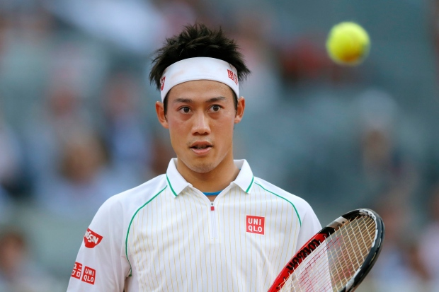 Kei Nishikori from Japan plays in the Madrid Open