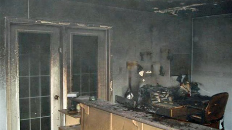 Damage from a fire at a building that houses the band office and RCMP detachment on the Montreal Lake First Nation on Monday is seen in this photo provided by RCMP.