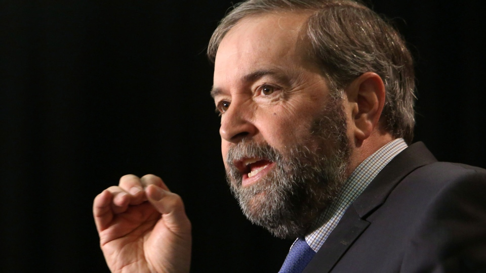 NDP Leader Tom Mulcair addresses the NDP Federal Council in Ottawa, Sunday, April 6, 2014. (Fred Chartrand / THE CANADIAN PRESS)
