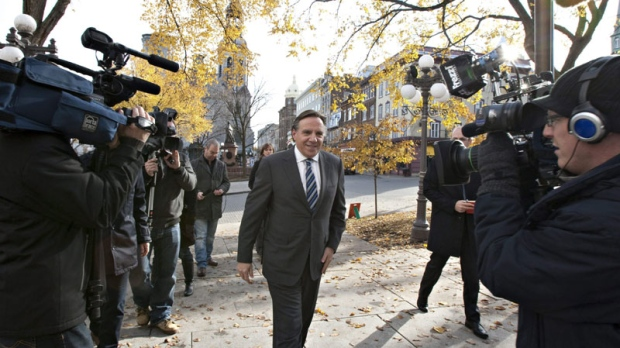 Francois Legault is seen arriving at Quebec City's City Hall on Nov. 4, 2011