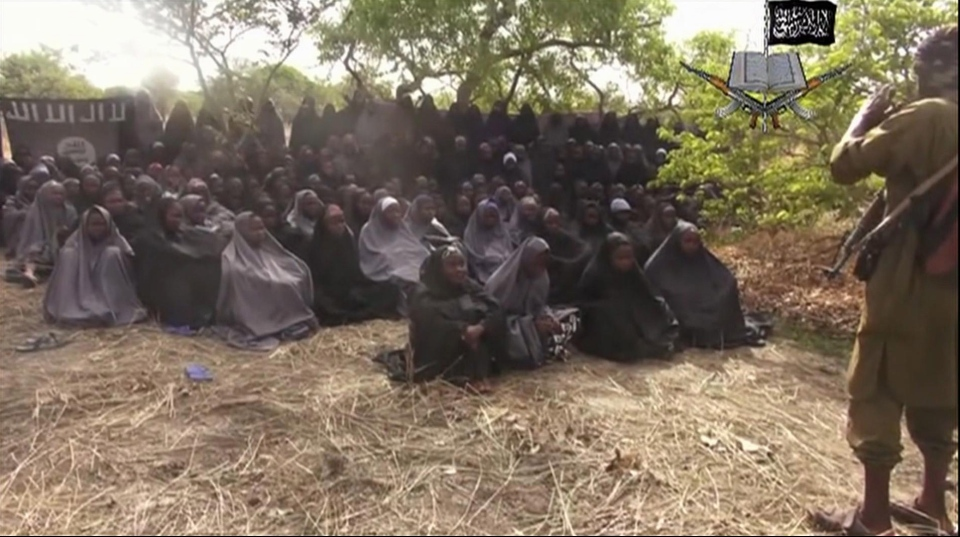 This video image released by Boko Haram allegedly shows the missing girls abducted from the northeastern town of Chibok on May 12, 2014. (AP Photo)