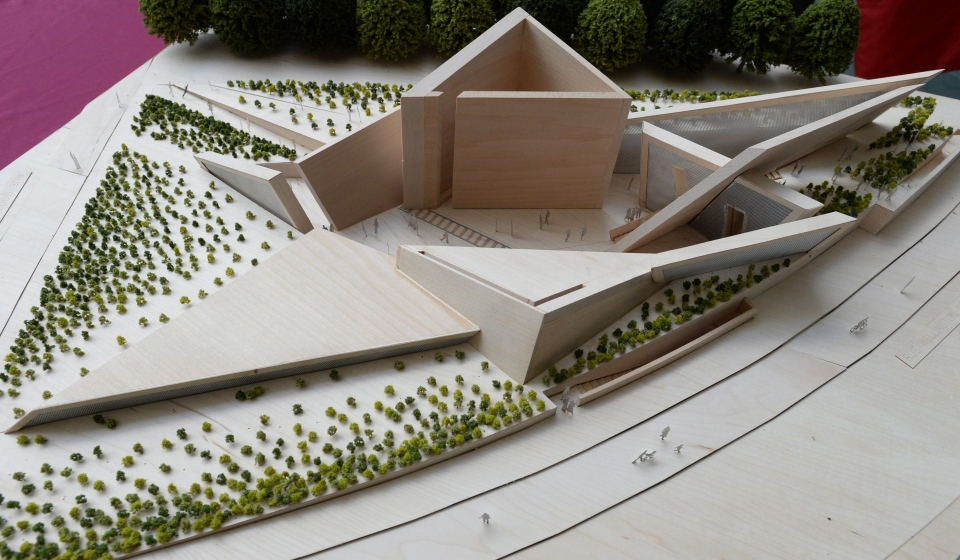 A model of the winning design for the National Holocaust Monument is displayed during an announcement at the National War Museum in Ottawa on Monday, May 12, 2014. (Sean Kilpatrick / THE CANADIAN PRESS)