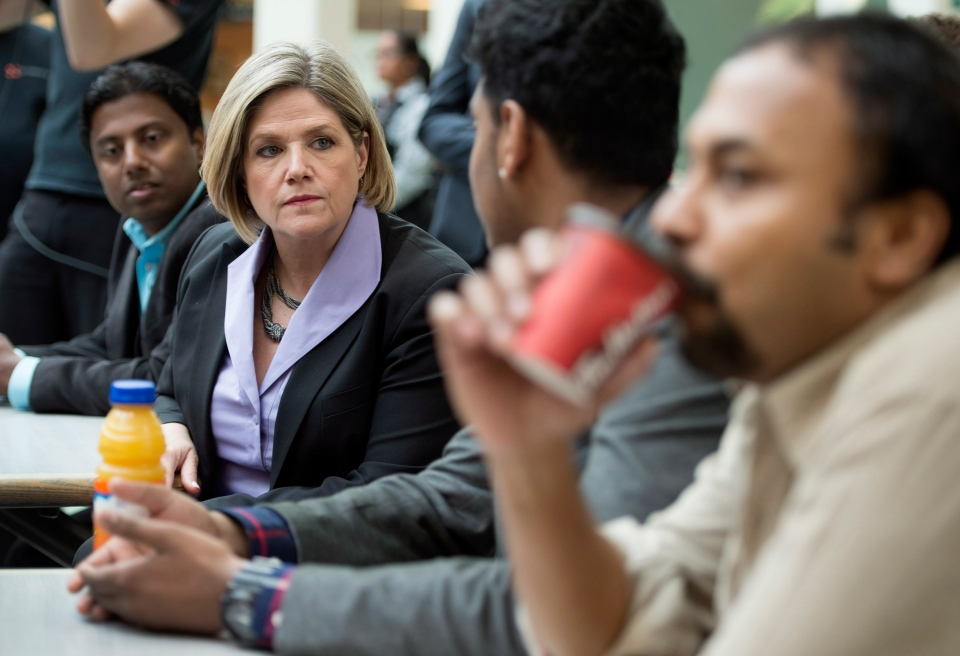 Ontario NDP Leader Andrea Horwath meets with people at the Malvern Town Centre food court in Toronto on Tuesday, May 13, 2014. (Darren Calabrese / THE CANADIAN PRESS)