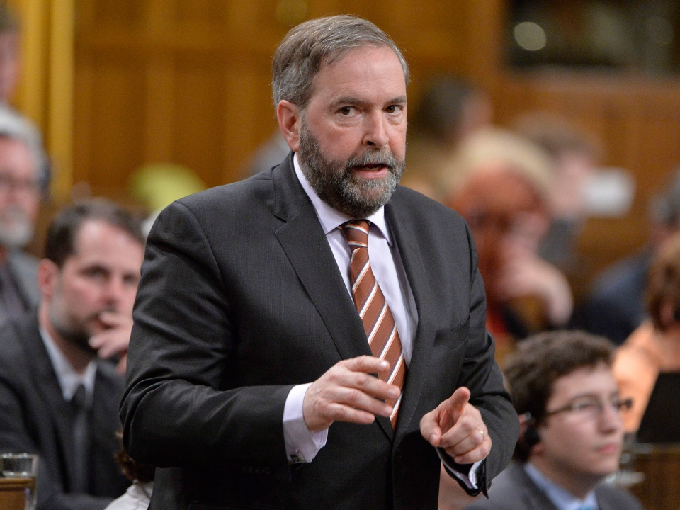 NDP Leader Tom Mulcair asks a question during question period in the House of Commons on Parliament Hill in Ottawa on Tuesday, May 13, 2014. (Adrian Wyld / THE CANADIAN PRESS)