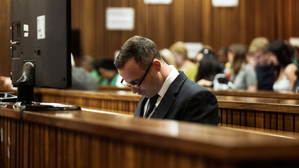 Oscar Pistorius sits in the dock in court in Pretoria, South Africa, Wednesday, May 14, 2014. (AP / Gianluigi Guercia, Pool)