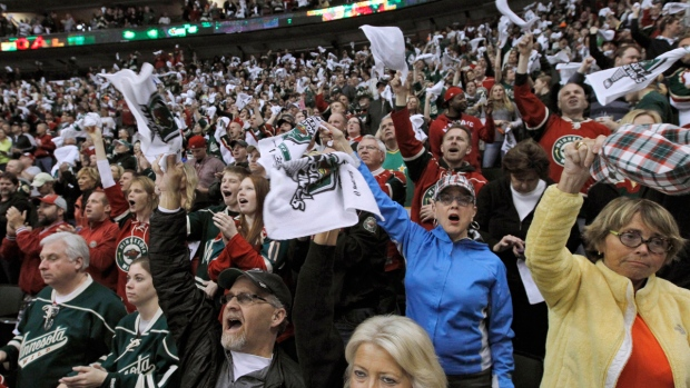 Minnesota Wild fans cheer in St. Paul, Minn.