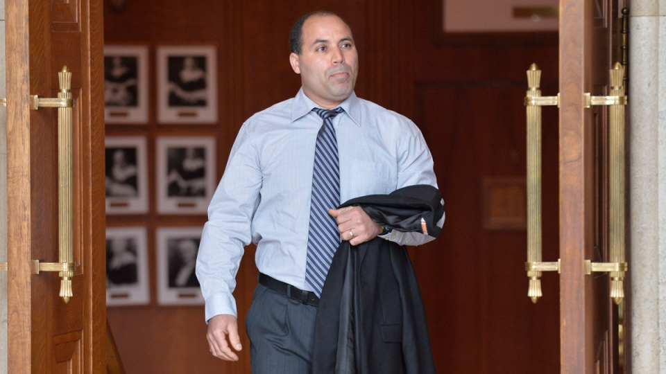 Mohamed Harkat arrives at the Supreme Court of Canada in Ottawa Wednesday, May 14, 2014. (THE CANADIAN PRESS / Adrian Wyld)