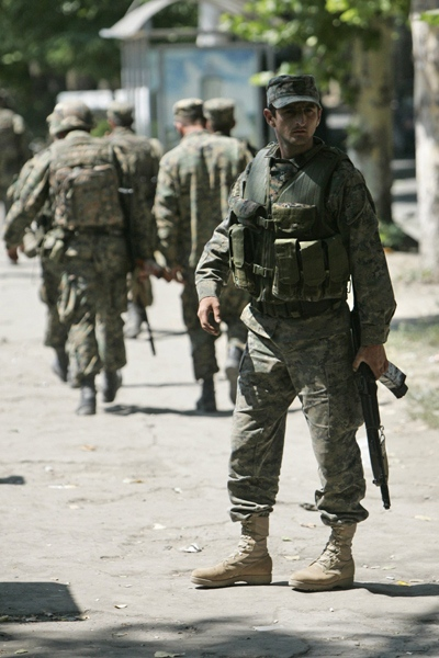 Georgian soldiers seen in the town of Gori, Georgia, just outside the breakaway province of South Ossetia, Sunday, Aug. 10, 2008. (AP / Sergei Grits)