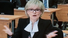 Image from TV of Julie Boulet, Charbonneau inquiry