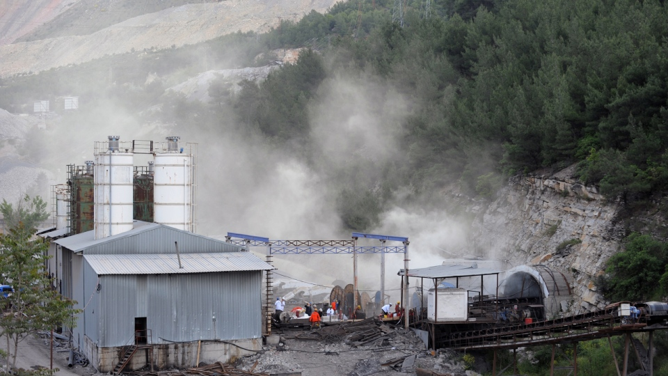 The main entrance of the coal mine in Soma, Turkey, Wednesday, May 14, 2014. (AP / Depo Photos)