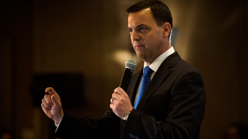 Ontario PC Leader Tim Hudak delivers a speech while campaigning in Toronto, Ont. on Wednesday, May 14, 2014. (Darren Calabrese / THE CANADIAN PRESS)