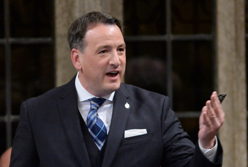 Minister of Natural Resources, Minister for the Federal Economic Development Initiative for Northern Ontario Greg Rickford responds to a question during question period in the House of Commons on Parliament Hill in Ottawa on Monday, March 31, 2014. (Sean Kilpatrick / THE CANADIAN PRESS)