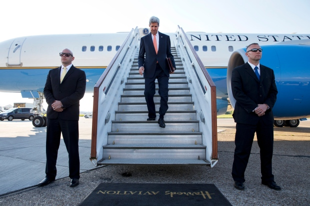 John Kerry at Stansted Airport
