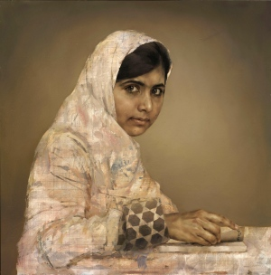 This undated file photo issued Tuesday Sept. 10, 2013, by the British National Portrait Gallery, shows a painting by artist Jonathan Yeo depicting the teenager education activist Malala Yousafzai, doing her homework. (AP Photo / Jonathan Yeo, British National Portrait Gallery, File)