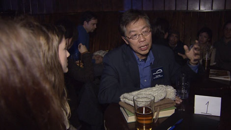 """Vision, Non-Partisan Association, COPE and independent candidates talked face-to-face with voters at a """"speed dating"""" event in East Vancouver. Nov. 14, 2011. (CTV)"""