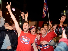Canadiens fans celebrate playoff win