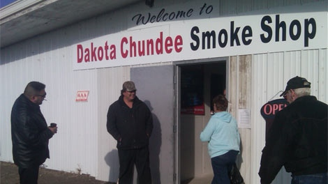 First Nations officials said the Dakota Chundee Smoke Shop re-opened on Nov. 16, 2011 in Manitoba.