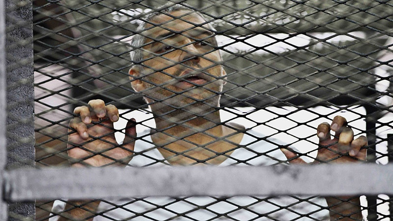 Mohammed Fahmy, Canadian-Egyptian acting bureau chief of Al-Jazeera, appears in a defendant's cage along with several other defendants during their trial on terror charges at a courtroom in Cairo, Egypt, Thursday, May 15, 2014.  (AP / Hamada Elrasam)