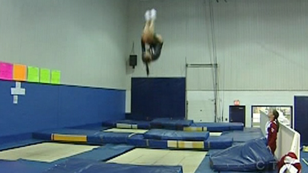 Karine Dufour can often be found flying in the air at Acrosport Barani (Nov. 16, 2011)