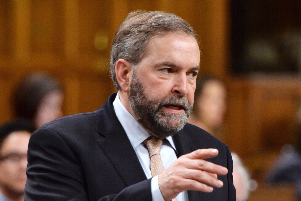 NDP Leader Thomas Mulcair asks a question during question period in the House of Commons on Parliament Hill in Ottawa on May 15, 2014. (Sean Kilpatrick / THE CANADIAN PRESS)
