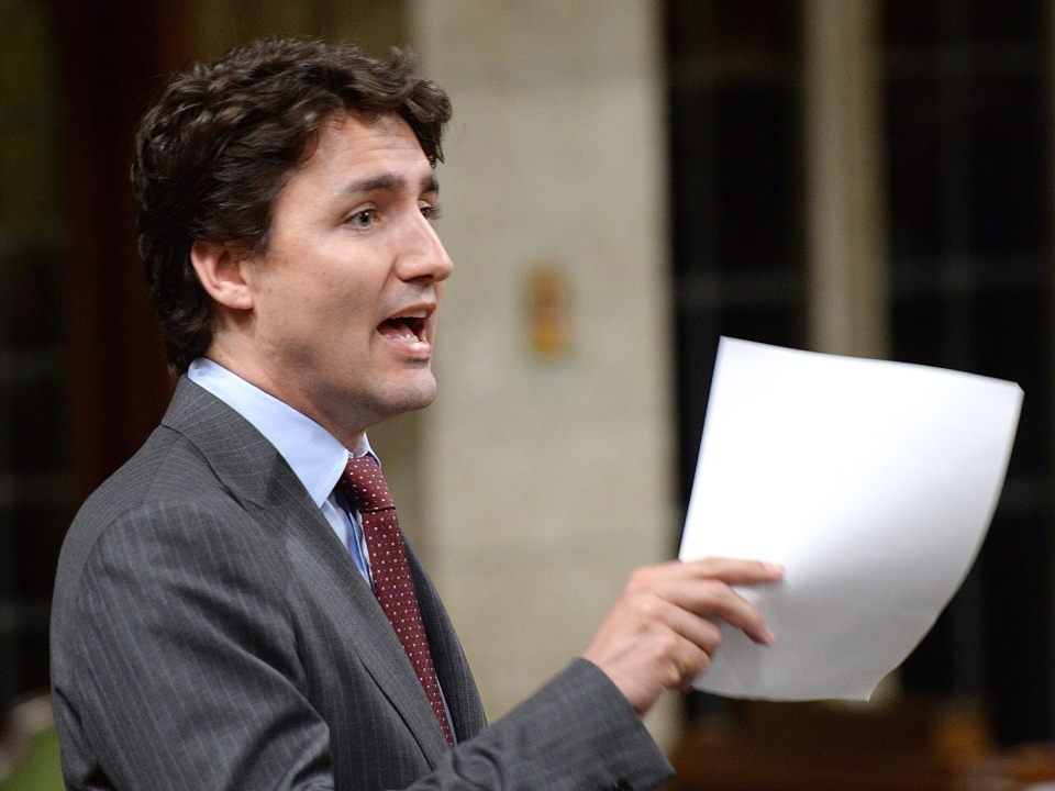 Liberal Leader Justin Trudeau asks a question during question period in the House of Commons on Parliament Hill in Ottawa on May 15, 2014. (Sean Kilpatrick/ THE CANADIAN PRESS)