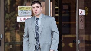 Jonathan Pratt leaves the courthouse in Wetaskiwin, Alberta on Monday May 15, 2014. Jonathan Pratt was charged with manslaughter and drunk driving charges in a 2011 crash that killed three young men near Beaumont, Alberta. (Jason Franson / THE CANADIAN PRESS)