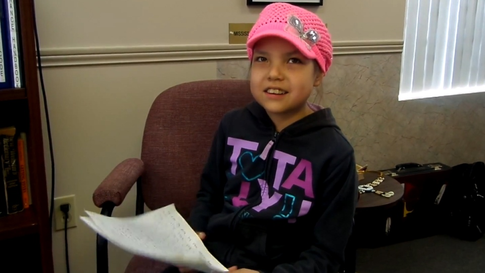 Makayla Sault of New Credit, Ont. in a still image from a YouTube video posted May 13, 2014. (Two Row Times / YouTube)