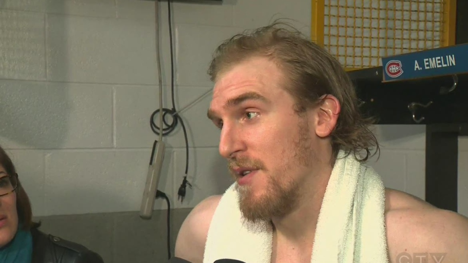 Dale Weise in the dressing room after the Canadiens won Game 7 of the second round of the NHL playoffs.