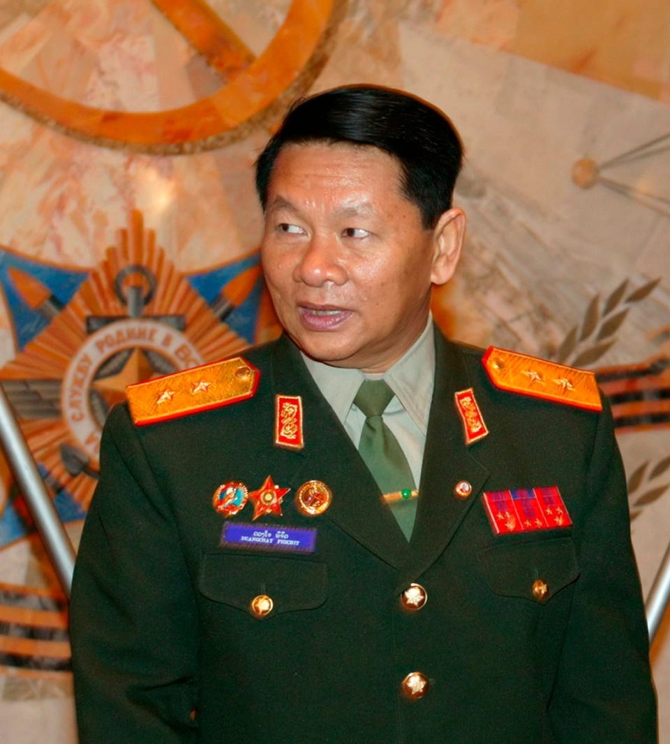 Laotian Defence Minister, Douangchay Phichit, is seen during a visit to Moscow in this April 27, 2004 file photo. A Laos air force plane believed to be carrying 20 people, including Phichit, crashed on Saturday, May 17, 2014. (AP Photo)