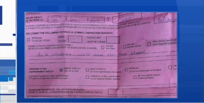 "Winnipeg police issued a man a $113.10 ticket for walking on the sidewalk in a group ""more than two abreast."""