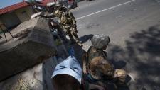 Pro-Russian miliants outside Slovyansk