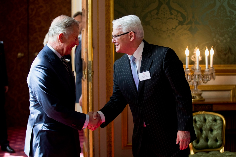 Britain's Prince Charles, left, shakes hands with Canada's High Commissioner to London Gordon Campbell at the start of a reception for Canadians living and working in the UK at St James's Palace in London, Wednesday, May 14, 2014. (AP / Matt Dunham)