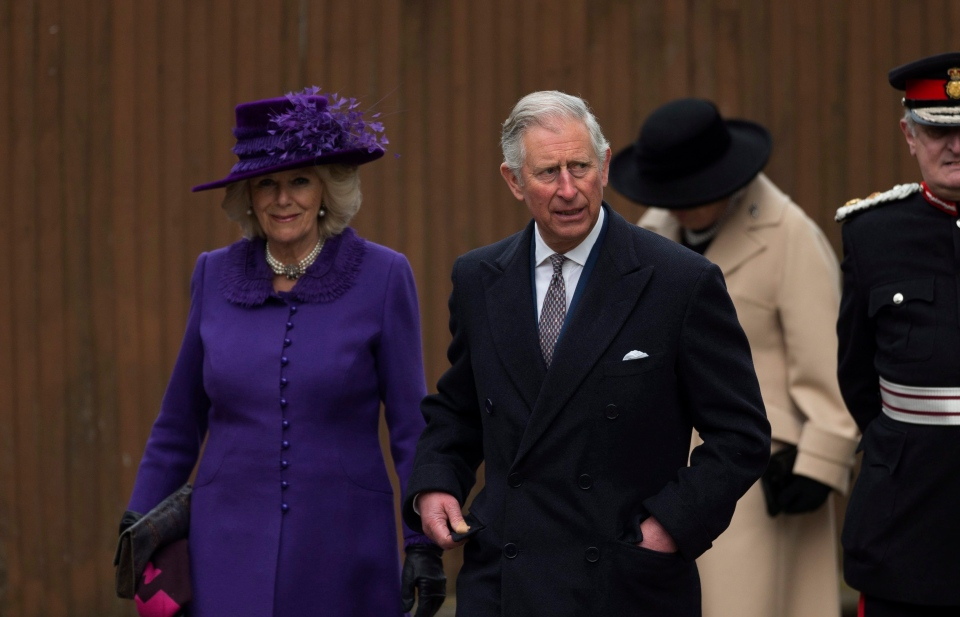 Britain's Prince Charles, right, and his wife Camilla the Duchess of Cornwall, arrive for the enthronement ceremony of Britain's new Archbishop of Canterbury Justin Welby at Canterbury Cathedral on Thursday, March 21, 2013. (AP / Matt Dunham)