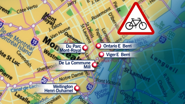 The top five cyclist crash locations in Montreal.