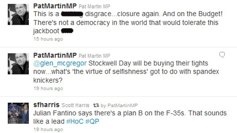 This screen grab shows the Twitter feed of NDP MP Pat Martin, Thursday, Nov. 17, 2011.