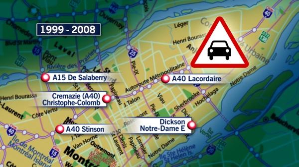 The top five car crash locations in Montreal.