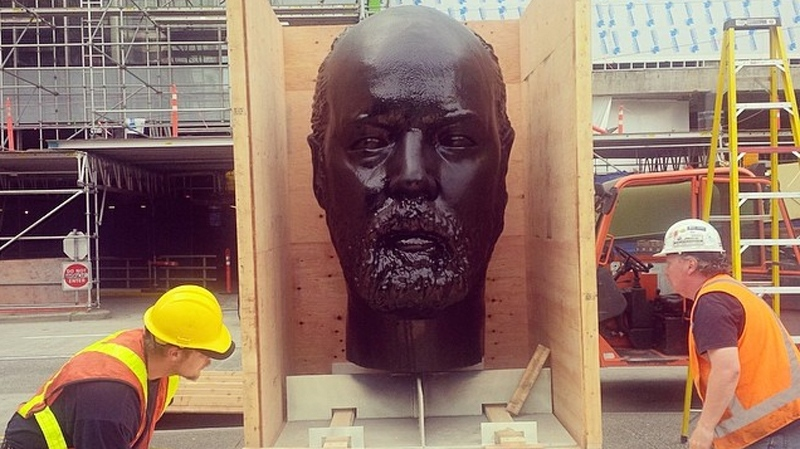 This seven-foot-tall sculpture of artist Douglas Coupland's head will sit outside the Vancouver Art Gallery from June to September collecting chewed gum. May 19, 2014. (Instragram/@VanArtGallery)