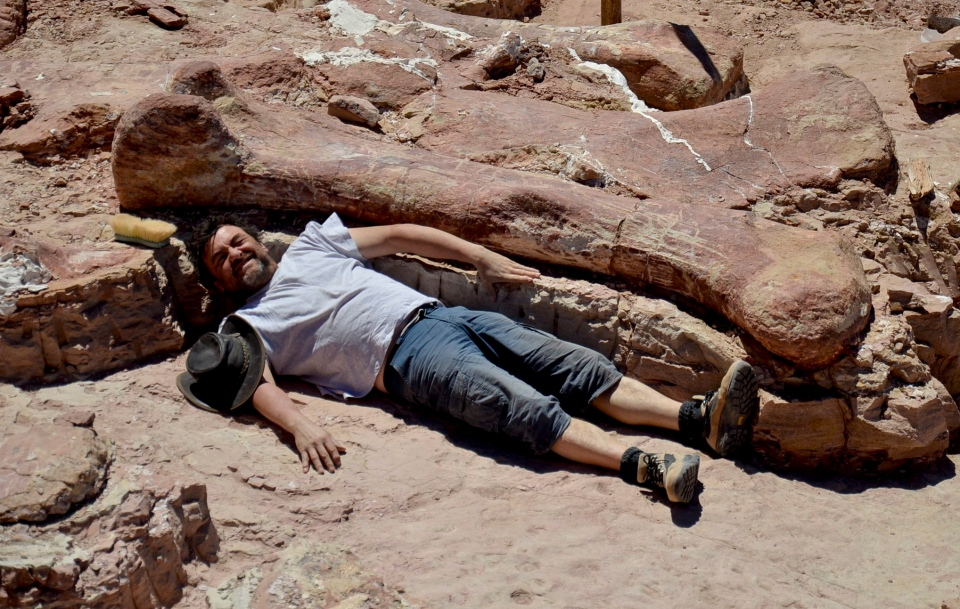 In this January 2014 photo released on Saturday, May 17, 2014 by the Museo Paletontológico Egidio Feruglio, Spanish paleontologist Jose Ignacio Canudo lies alongside a sauropod dinosaur femur, believed to be the largest in the world, in Trelew, Argentina. (AP / Museo Paletontologico Egidio Feruglio)