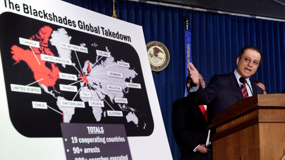 Preet Bharara, U.S. Attorney for the Southern District of New York, discusses arrests in the malware BlackShades Remote Access Too, during a news conference in New York, Monday, May 19, 2014. (AP / Richard Drew)