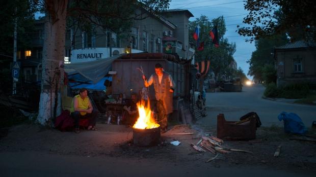 Street barricade in Slovyansk, eastern Ukraine