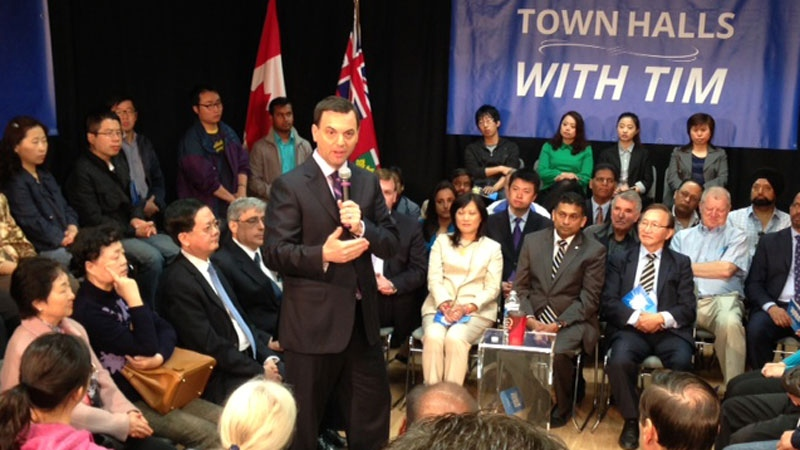 Ontario PC Leader Tim Hudak speaks at a 'town hall' event in Scarborough on Tuesday, May 20, 2014. (Francis Gibbs / CTV Toronto)