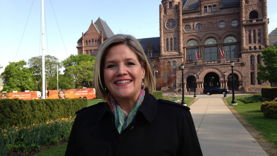 Ontario NDP Leader Andrea Horwath poses in front of Queen's Park in Toronto on Tuesday, May 20, 2014. (George Stamou / CTV Toronto)
