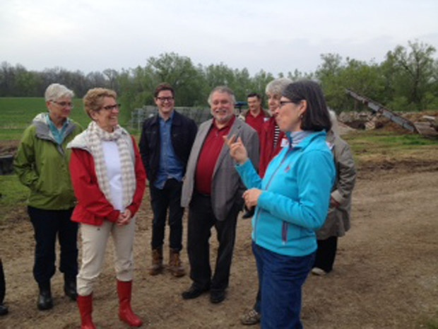 Ontario Liberal Leader Kathleen Wynne tours a farm in Paris, Ont. on Tuesday, May 20, 2014. (Nicole Lampa / CTV Kitchener)