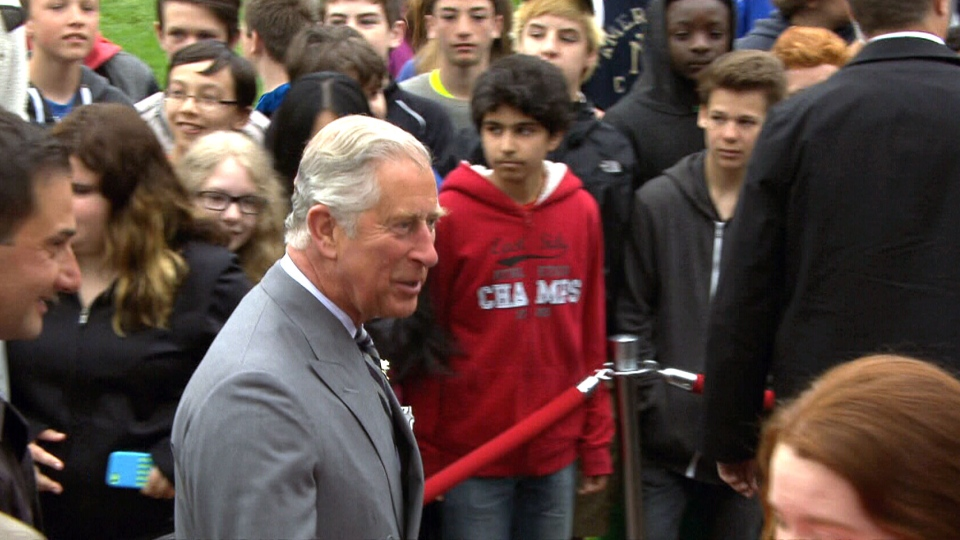 Prince Charles arrives at the legislature in Prince Edward Island, Tuesday, May 20, 2014.