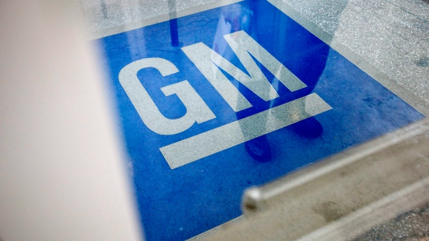 The logo for General Motors decorates the entrance at the site of a GM information technology center in Roswell, Ga., Thursday, Jan. 10, 2013. (AP / David Goldman)