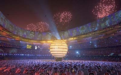 Fireworks explode over the Bird's Nest stadium during the opening ceremonies of the 2008 Summer Olympics in Beijing, China on Friday, Aug. 8, 2008. (THE CANADIAN PRESS/Paul Chiasson)