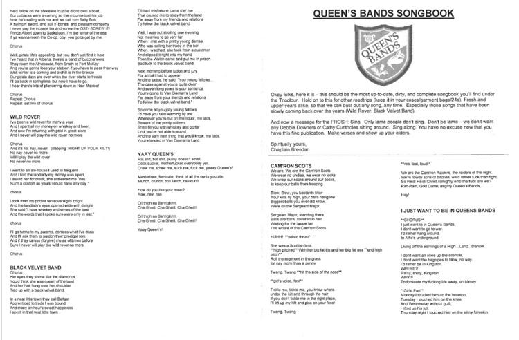 Copy of the Queen's Bands Songbook.