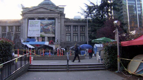 The Occupy Vancouver tent city is shown at the Vancouver Art Gallery. Nov. 18, 2011. (CTV)