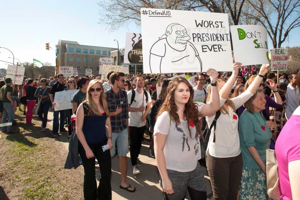 "Members of a student-led organization called ""TransformThis"" march to a rally against the administration of the University of Saskatchewan on campus in Saskatoon, Tuesday, May 20,2014. (Liam Richards / THE CANADIAN PRESS)"