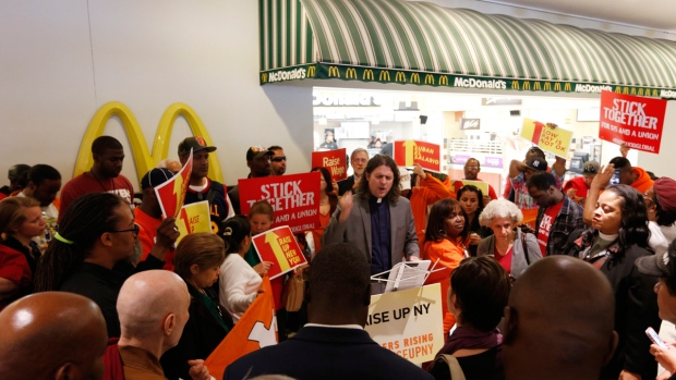 Rally at a McDonald's restaurant in Albany, NY